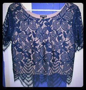 Express Navy Blue Lace Shirt